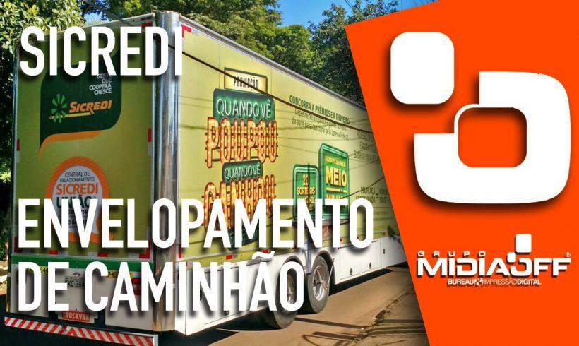 MidiaOFF – Envelopamento Digital de Frota – Caminhão Banco Sicredi